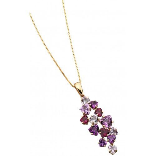 9 Carat Yellow Gold Amethyst And Garnet necklace GP849M
